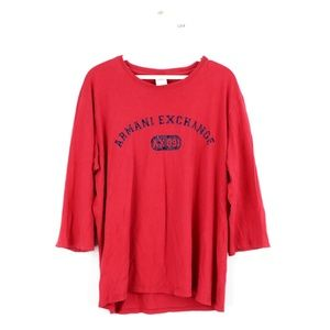 Armani Exchange Spell Out 3/4 Sleeve T Shirt Red